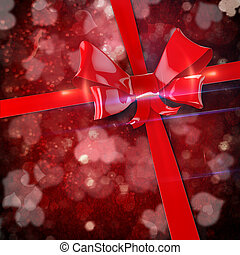 3d red bow and ribbon background