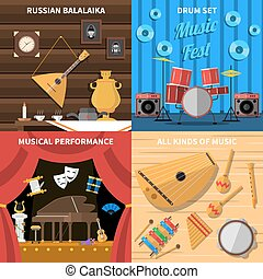 Musical Instruments Concept Icons Set - Musical instruments...
