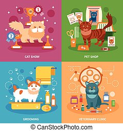 Cats concept set - Cats design concept set with pet grooming...
