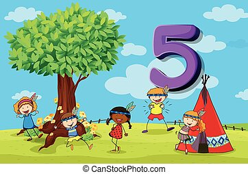 dFlashcard number 5 with five children in the park -...