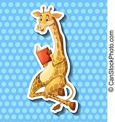 Cute giraffe reading book