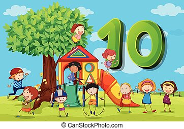 Flashcard number 10 with ten children in the park...