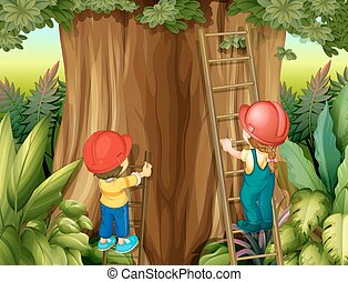 Boy and girl climbing ladder up the tree