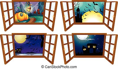 Halloween night from the window  illustration