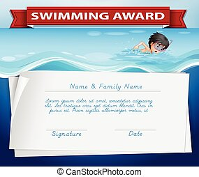 Template of certificate for swimming award