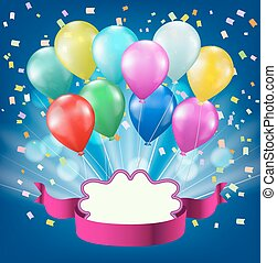 colorful balloons, confetti, light burst, ribbon and frame background. celebration vector design template