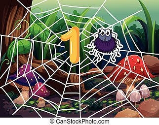 Number one and one spider on web