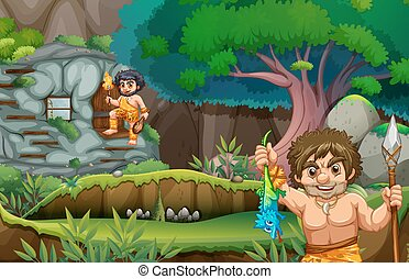 Two cavemen living in the stonehouse