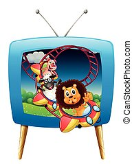 Television screen with animals on the rollercoaster...