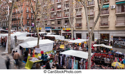 El Rastro with blurred people in Madrid - Detailed view of...