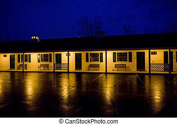 motel at night, North Conway, New Hampshire; USA - motel at...