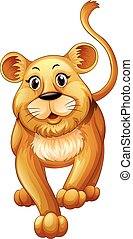 Cute lion cub with happy face