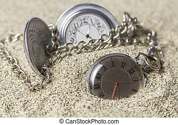 Pocket watch covered with sand - Old pocket watches with...