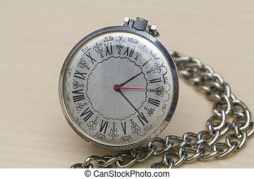Pocket watch with Roman numerals - Old pocket watch with its...