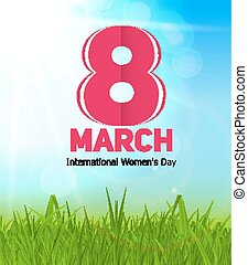 Women Day Greeting Card 8 March with Spring Sun, Green Grass and Text Vector Illustration