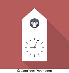 Cuckoo clock flat icon with long shadow