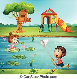 Boy and girl at the pond