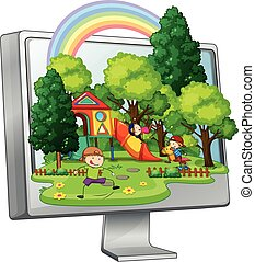Children playing in the playground on computer screen