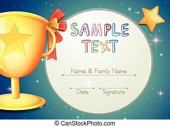 Certification template with stars and trophy illustration