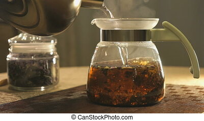 Brewing kipany tea in a glass teapot on a table