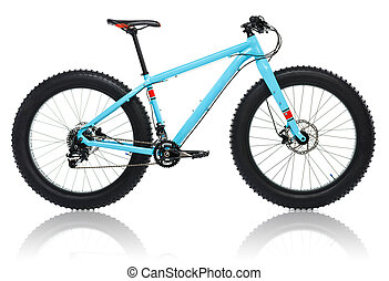 New blue bicycle with thick tires for snow ride