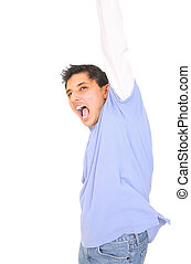 Winning Expression - teenager screams in excitment,...