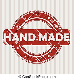 Grunge rubber stamp with HAND MADE - Grunge red rubber stamp...