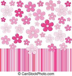 rosa, flores, rayas, Plano de fondo