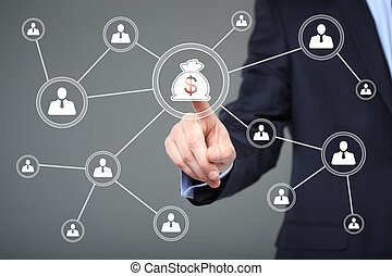 Businessman pushing button with icon dollar virtual....