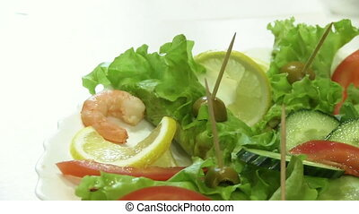 Snack With Cucumber, Lemon And Shrimps