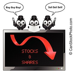 Stocks and Shares - Comical bird businessman with buy and...