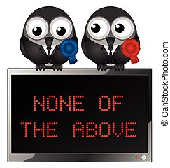None of the above - Monochrome comical politician birds with...