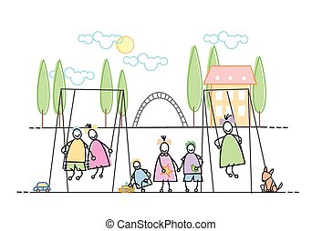 Children Group On Playground Leisure Holiday Vector...
