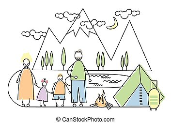 Big Family Camping Tourism Parents With Two Children Vector...