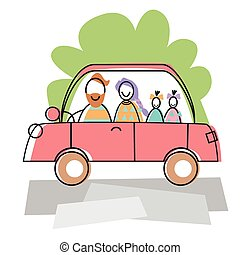 Happy Family Parents Two Children Car Drive Travel Vector...