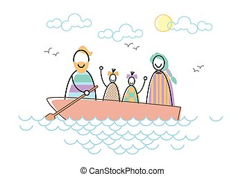 Happy Family Parents Two Children In Boat