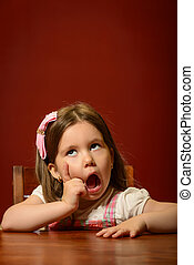 Littel girl face gesturing - Expressive beautiful little...