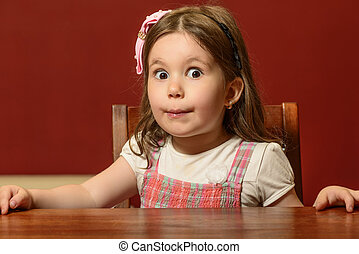 Expressive little girl playing - Expressive beautiful little...