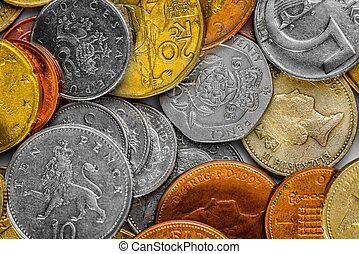 Collection of various international coins closeup photo