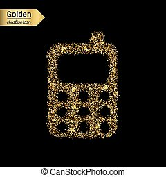 Gold glitter vector icon of mobile phone isolated on background. Art creative concept illustration for web, glow light confetti, bright sequins, sparkle tinsel, abstract bling, shimmer dust, foil.