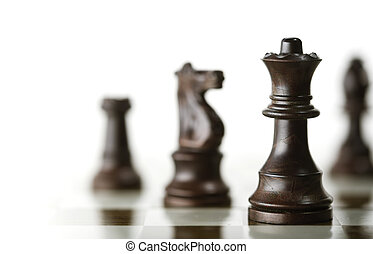 Chess Game over White Background - Horizontal image of a...