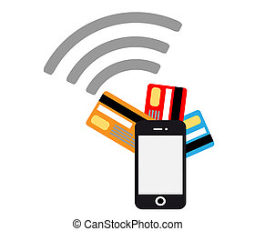 Mobile payments flat design vector - Mobile payments and...