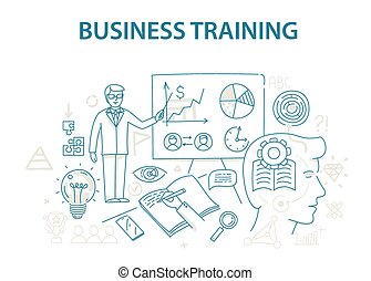 Doodle style design concept of business training and...