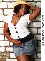 African American Girl Hot Pose With Cowgirl Hat - african...