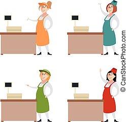 Set of seller women - Vector image of Set of seller women