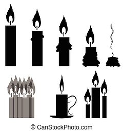 Set of Different Burning Retro Candles Isolated on White...