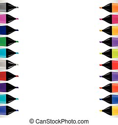 Set od Colorful Markers Isolated on White Background. Office...