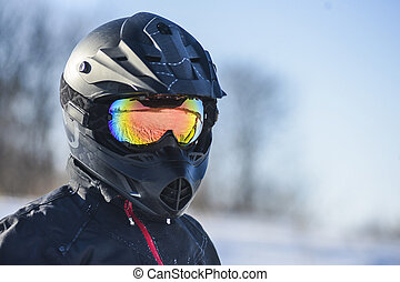 Biker in helmet