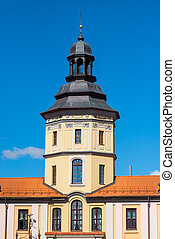 High Tower of the palace in Nesvizh on a sunny day - The...