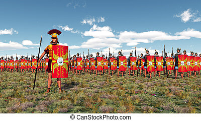Centurion and legionaries - Computer generated 3D...